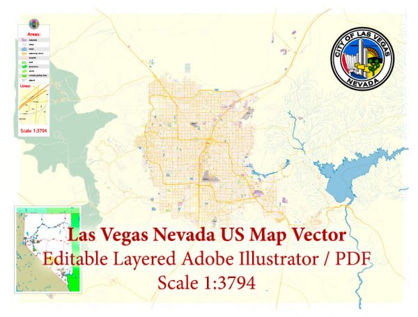 Las Vegas Nevada US Map Vector Exact City Plan High Detailed Street Map editable Adobe Illustrator in layers