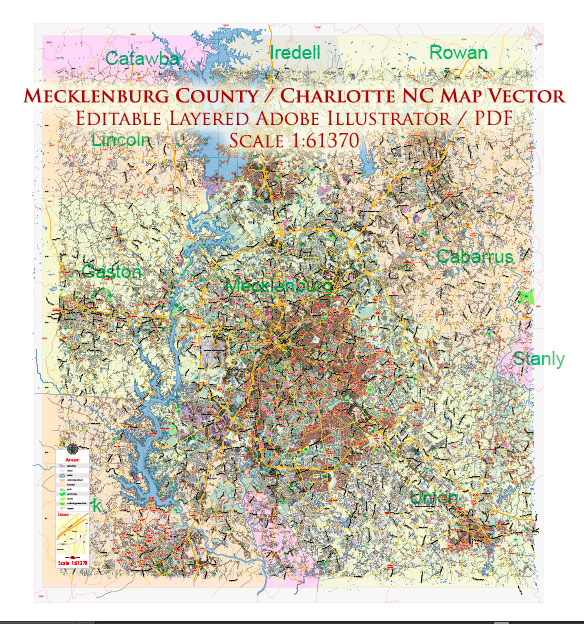 Mecklenburg County Charlotte North Carolina US Map Vector Exact City Plan Detailed Street Map +Admin + Zipcodes editable Adobe Illustrator in layers