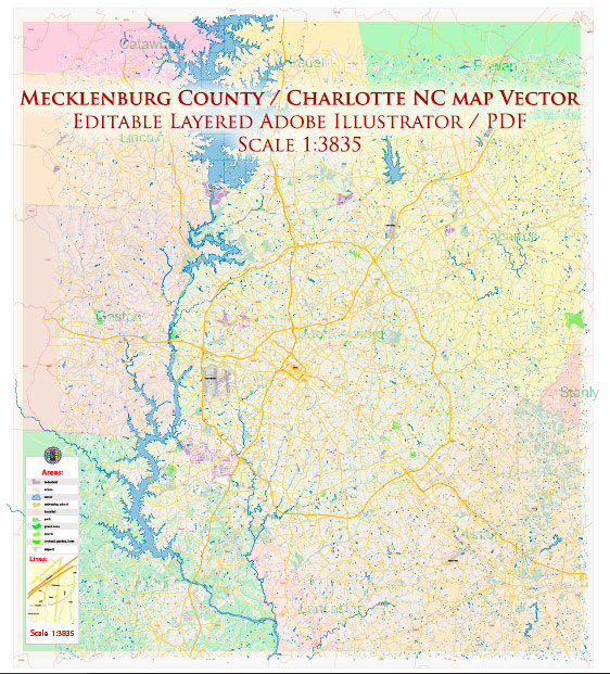 Mecklenburg County Charlotte North Carolina US Map Vector Exact City and County Plan High Detailed Street Map + admin + zipcodes editable Adobe Illustrator in layers