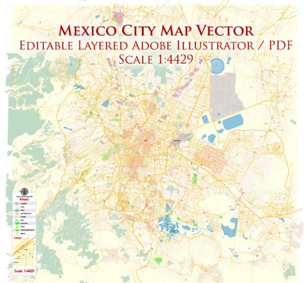 Mexico City Map Vector Exact City Plan High Detailed Street Map editable Adobe Illustrator in layers