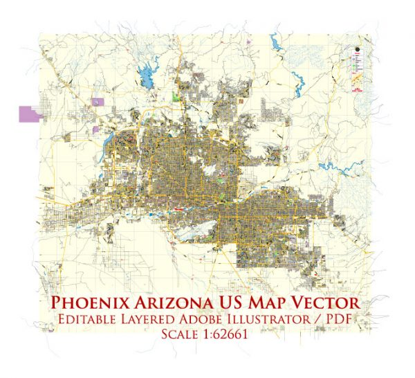 Phoenix Arizona US Map Vector Exact City Plan Low Detailed Street Map editable Adobe Illustrator in layers
