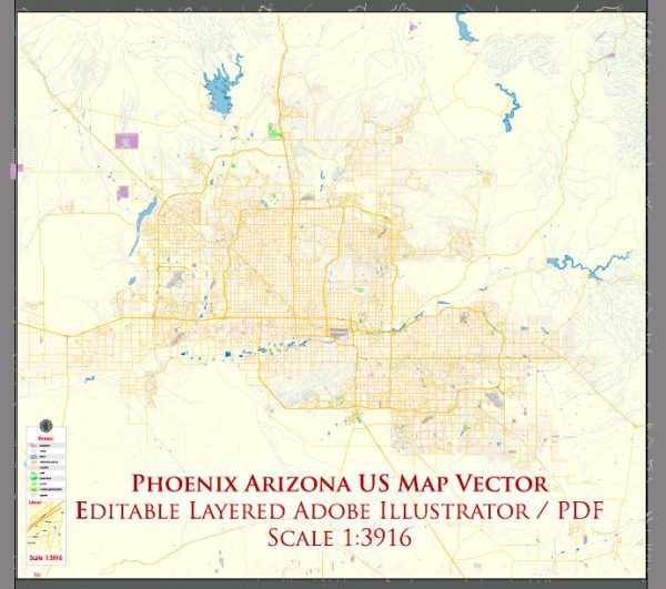 Phoenix Arizona US Map Vector Exact City Plan High Detailed Street Map editable Adobe Illustrator in layers