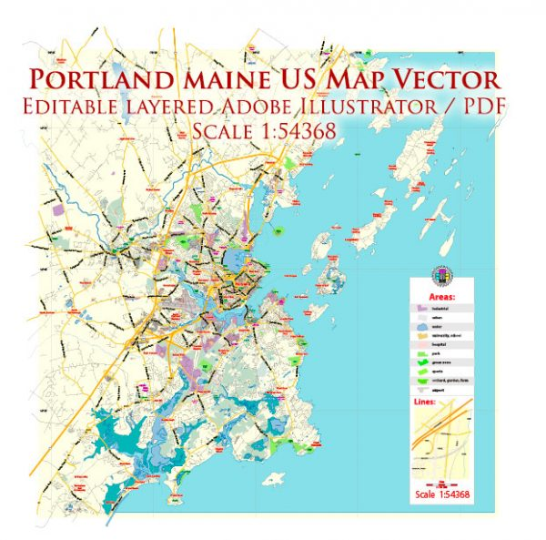 Portland Maine US Map Vector Exact City Plan Low Detailed Street Map editable Adobe Illustrator in layers
