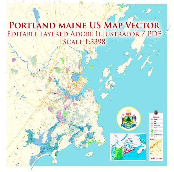 Portland Maine US Map Vector Exact City Plan High Detailed Street Map editable Adobe Illustrator in layers