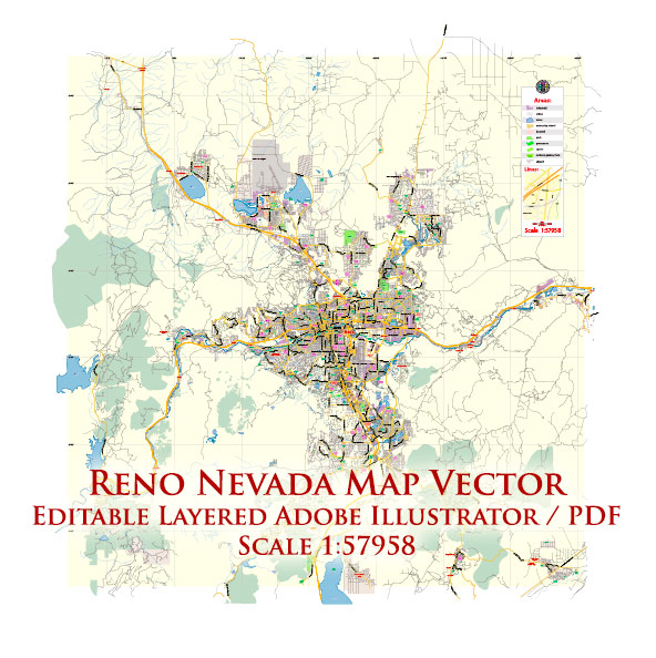 Reno Nevada US Map Vector Exact City Plan Low Detailed Street Map editable Adobe Illustrator in layers