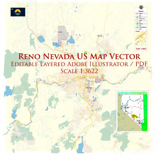 Reno Nevada US Map Vector Exact City Plan High Detailed Street Map editable Adobe Illustrator in layers