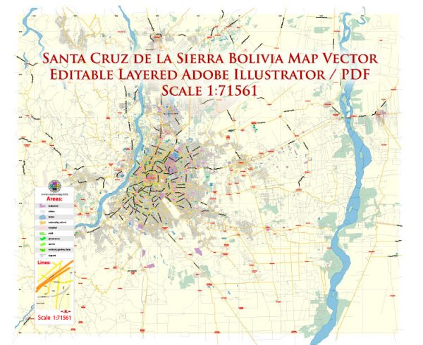 Printable PDF Vector Map of Santa Cruz de la Sierra Bolivia LOW detailed City Plan scale 1:71561 full editable Adobe PDF Street Map in layers, scalable, text format all names, 4 MB ZIP All street names, Main Objects, Buildings. Map for design, printing, arts, projects, presentations, for architects, designers, and builders, business, logistics. Layers list: Legend Grids Labels of roads Names of places (city, hamlet, etc.) Names of objects (hospitals, schools, parks, water) Names of main streets Halo names places Halo names streets Halo names objects Main Streets, roads, railroads, lines Civil streets Railroads Buildings Airports and heliports Water objects (rivers, lakes, ponds) Color fills (parks, hospital areas, school areas, land use, etc.) Back The most exactand detailed map of the city in scale. For Editing and High-Quality Printing