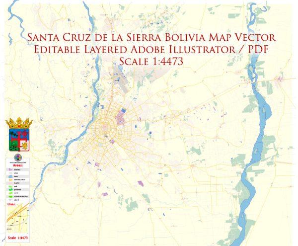 Santa Cruz de la Sierra Bolivia Map Vector Exact City Plan High Detailed Street Map editable Adobe Illustrator in layers