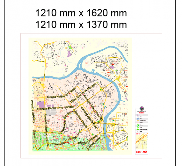 Santo Domingo RD Special Map Vector Exact City Plan High Detailed Street Map editable Adobe Illustrator + PDF in layers