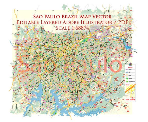 Sao Paulo \ San Paulo Brazil Map Vector Exact City Plan Low Detailed Street Map editable Adobe Illustrator in layers