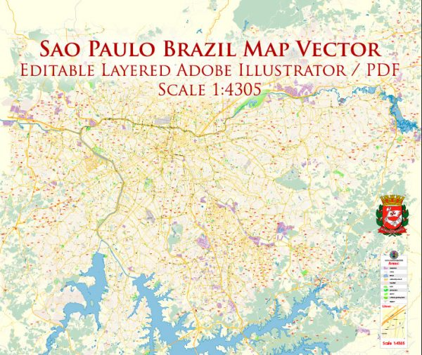 Sao Paulo \ San Paulo Brazil Map Vector Exact City Plan High Detailed Street Map editable Adobe Illustrator in layers