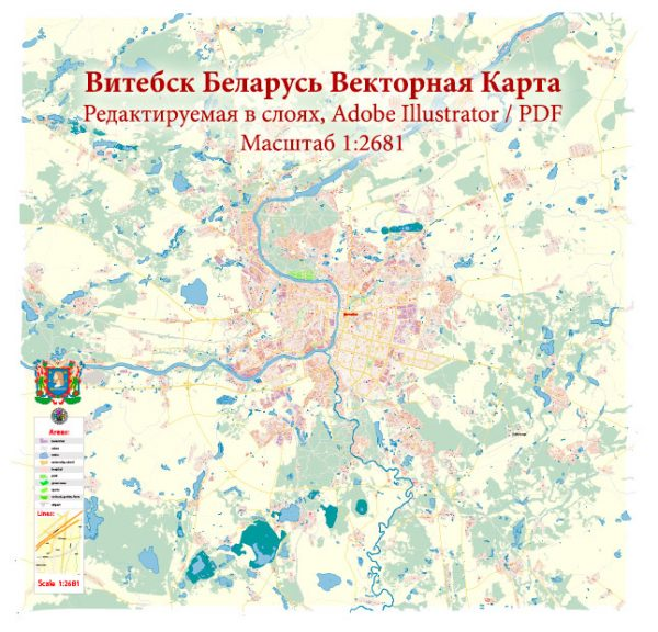 Vitebsk Belarus Map Vector Exact City Plan High Detailed Street Map editable Adobe Illustrator in layers