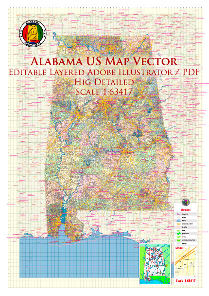 Alabama State US Map Vector Exact Roads Plan High Detailed Street Map + Counties + Zipcodes editable Adobe Illustrator in layers