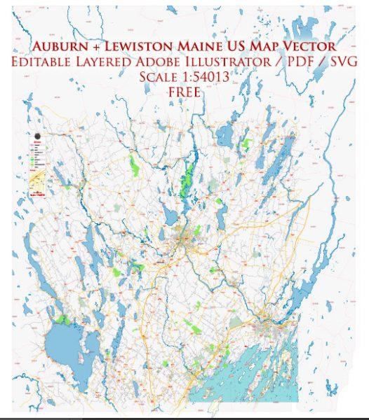 Auburn + Lewiston Maine US Map Vector Free Editable Layered Adobe Illustrator + PDF + SVG
