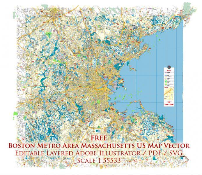 Boston Metro Area Massachusetts US Map Vector Free Editable Layered Adobe Illustrator + PDF + SVG