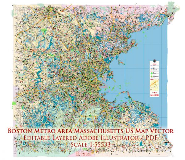 Boston Massachusetts US Map Vector Exact City Plan LOW Detailed Street Map Metro Area + ZIP-Codes editable Adobe Illustrator in layers
