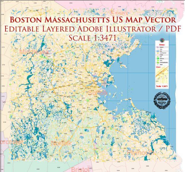 Boston Massachusetts US Map Vector Exact City Plan High Detailed Street Map Metro Area + ZIP-Codes editable Adobe Illustrator in layers
