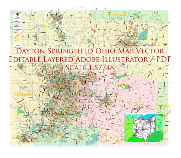 Dayton Springfield Ohio US Map Vector Exact City Plan LOW Detailed Street Map + ZIP-Codes editable Adobe Illustrator in layers