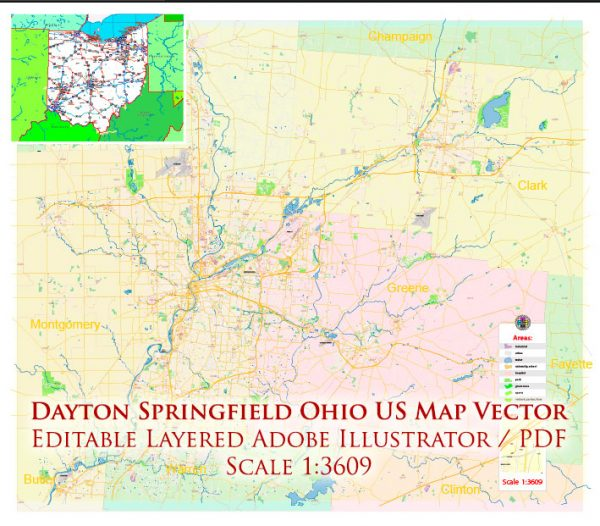 Dayton Springfield Ohio US Map Vector Exact City Plan High Detailed Street Map + ZIP-Codes editable Adobe Illustrator in layers