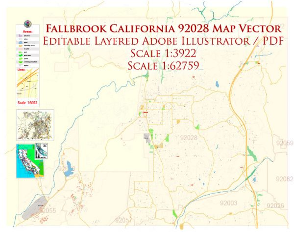 Fallbrook California 92028 US Map Vector Exact City Plan High Detailed Street Map editable Adobe Illustrator + PDF in layers