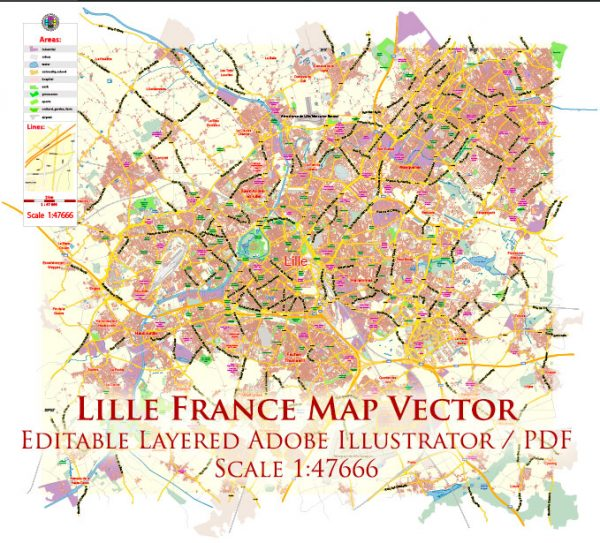 Lille France Map Vector Exact City Plan Low Detailed Street Map editable Adobe Illustrator in layers