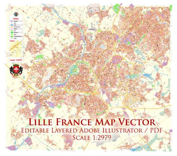 Lille France Map Vector Exact City Plan High Detailed Street Map editable Adobe Illustrator in layers