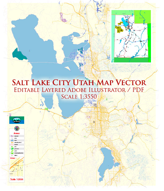 Salt Lake City Utah US Map Vector Exact City Plan High Detailed Street Map editable Adobe Illustrator in layers