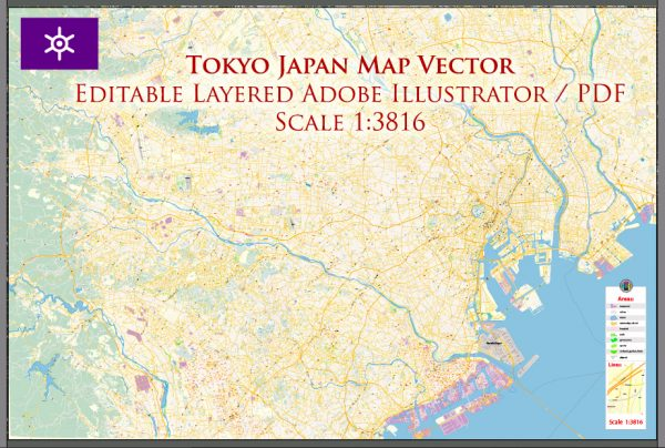 Tokyo Japan Map Vector Exact City Plan High Detailed Street Map editable Adobe Illustrator in layers