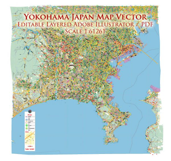 Yokohama Japan Map Vector Exact City Plan Low Detailed Street Map editable Adobe Illustrator in layers