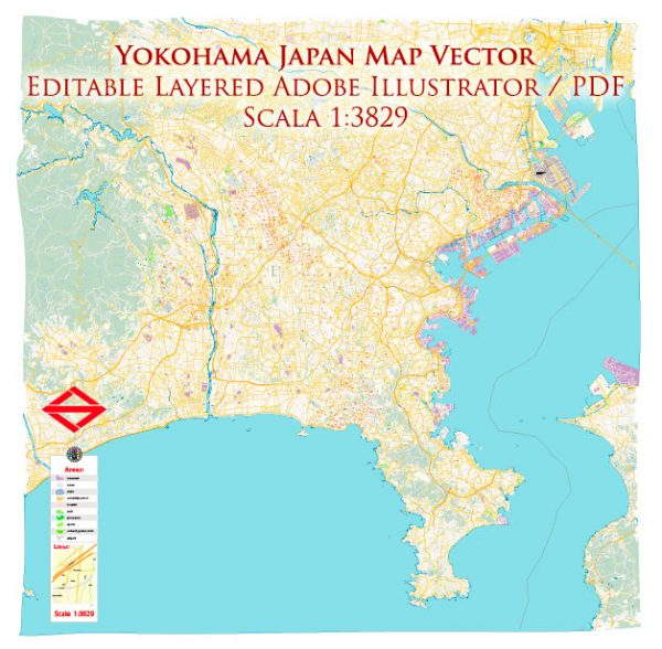 Yokohama Japan Map Vector Exact City Plan High Detailed Street Map editable Adobe Illustrator in layers