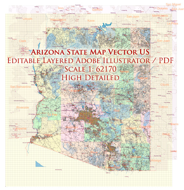 Arizona State US Map Vector Exact State Plan High Detailed Road Map + admin + Zipcodes editable Adobe Illustrator in layers