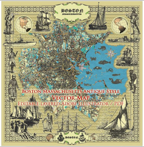Boston Massachusetts US Map Vector Antique Style City Plan Detailed Street Mapeditable Adobe Illustrator in layers