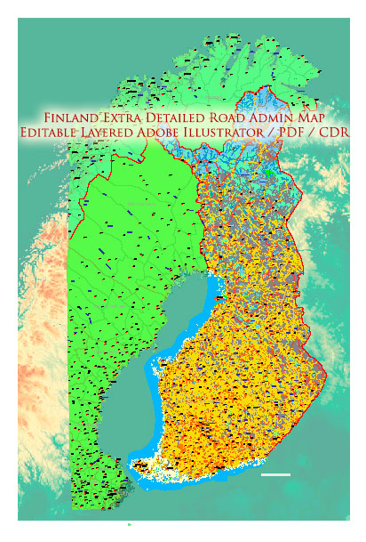 Finland Map Vector Full Extra High Detailed 01 (all roads) + Relief + Admin Areas editable Adobe Illustrator in layers
