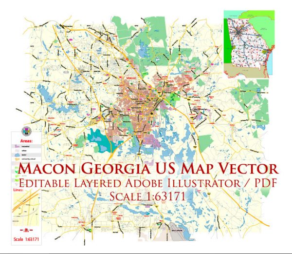 Macon Georgia US Map Vector Exact City Plan LOW Detailed Street Map editable Adobe Illustrator in layers