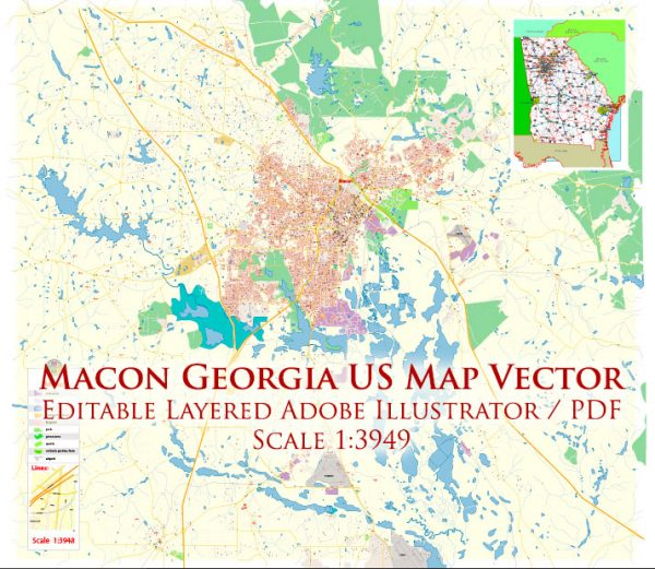 Macon Georgia US Map Vector Exact City Plan High Detailed Street Map editable Adobe Illustrator in layers