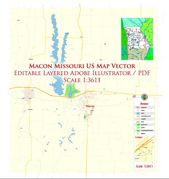 Macon Missouri US Map Vector High Detailed editable Adobe Illustrator in layers