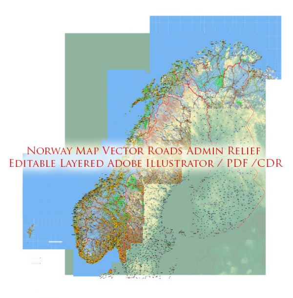 Norway Map Vector Full Extra High Detailed 01 (all roads) in ONE file + Relief + Admin Areas editable Adobe Illustrator in layers