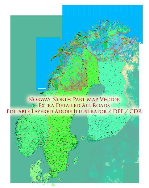 Norway Map Vector Extra High Detailed (all roads) + Relief + Admin Areas editable Adobe Illustrator in layers (2 parts NS)