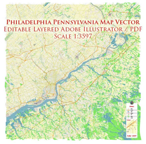 Philadelphia Pennsylvania US Map Vector Exact City Plan High Detailed Street Map editable Adobe Illustrator in layers