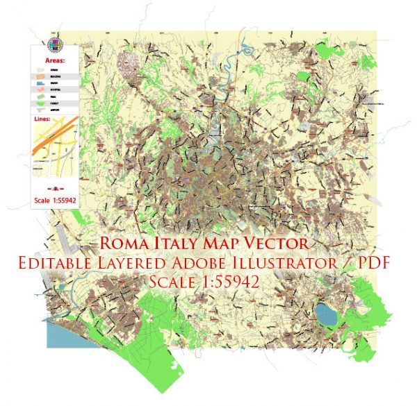Roma Rome Italy Map Vector Exact City Plan LOW Detailed Street Map editable Adobe Illustrator in layers