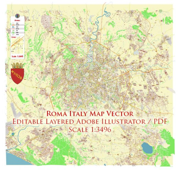 Roma Rome Italy Map Vector Exact City Plan High Detailed Street Map editable Adobe Illustrator in layers