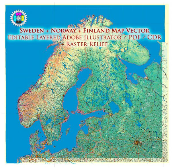 Sweden + Norway + Finland Relief Road Map Vector Exact High Detailed editable Adobe Illustrator in layers