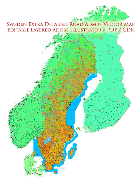 Sweden Map Vector Full Extra High Detailed 01 (all roads) + Relief + Admin Areas editable Adobe Illustrator in layers