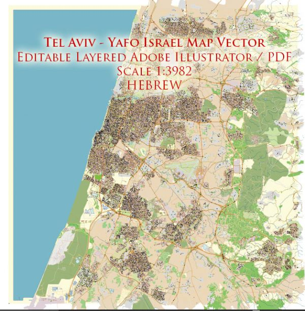 Tel Aviv-Yafo Israel Map Vector (Hebrew) Exact City Plan High Detailed Street Map editable Adobe Illustrator in layers