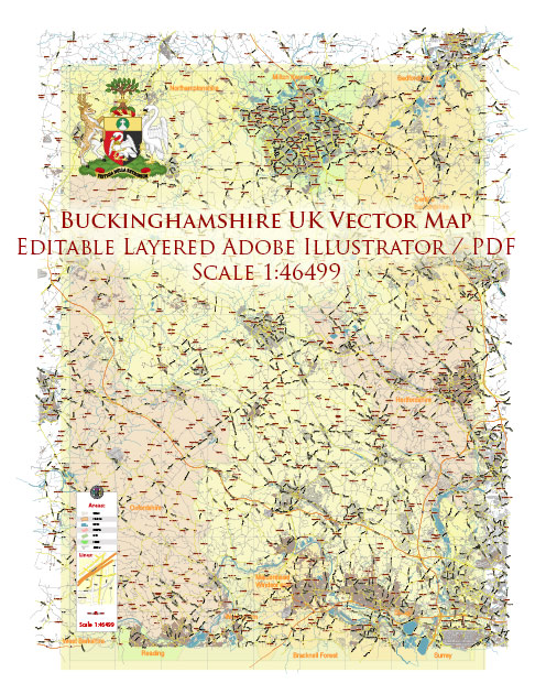 Buckinghamshire UK Map Vector Exact County Plan LOW Detailed (for small print size) Street Map + Admin editable Adobe Illustrator in layers