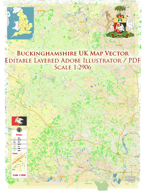 Buckinghamshire UK Map Vector Exact County Plan High Detailed Street Map + Admin editable Adobe Illustrator in layers