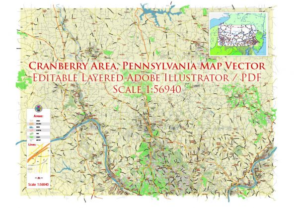 Cranberry 16066 plus surrounding zip codes Pennsylvania US Map Vector Exact City Plan Low Detailed (for small print size) Street Map editable Adobe Illustrator in layers