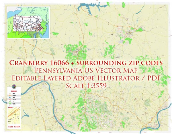 Cranberry 16066 plus surrounding zip codes Pennsylvania US Map Vector Exact City Plan High Detailed Street Map editable Adobe Illustrator in layers