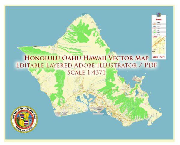 Honolulu Oahu Hawaii US Map Vector Exact City Plan High Detailed Street Map editable Adobe Illustrator in layers