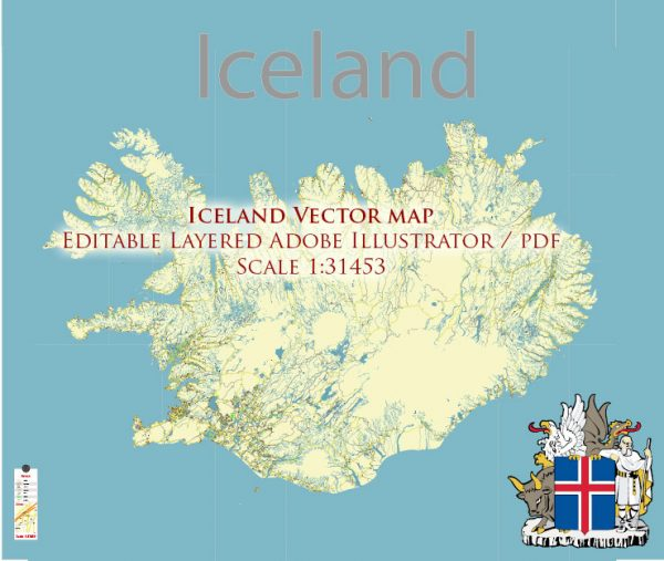 Iceland full country Map Vector Accurate Roads Plan High Detailed Street Map editable Adobe Illustrator in layers